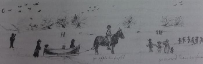 """Said to be Ralph Anthony Dopping and friends on the lake, the drawing had writing we cant make out. Who the sketch is by I dont know, from the Anthony Dopping collection as published in """"The Lough Gowna Valley by Frank Collumb"""