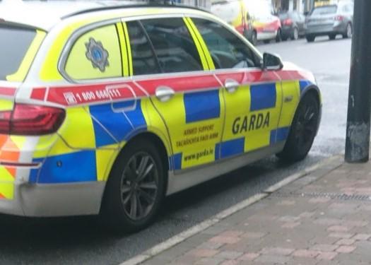 Garda car at checkpoint