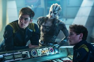 Left to right: Chris Pine plays Kirk, Sofia Boutella plays Jaylah and Anton Yelchin plays Chekov in Star Trek Beyond from Paramount Pictures, Skydance, Bad Robot, Sneaky Shark and Perfect Storm Entertainment