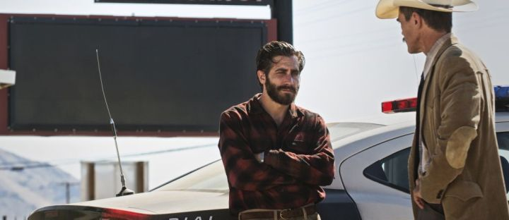 (l-r.) Academy Award nominees Jake Gyllenhaal and Michael Shannon star as Tony Hastings and Bobby Andes and Karl Glusman stars as Lou in writer/director Tom Ford's romantic thriller NOCTURNAL ANIMALS, a Focus Features release. Credit: Merrick Morton/Focus Features