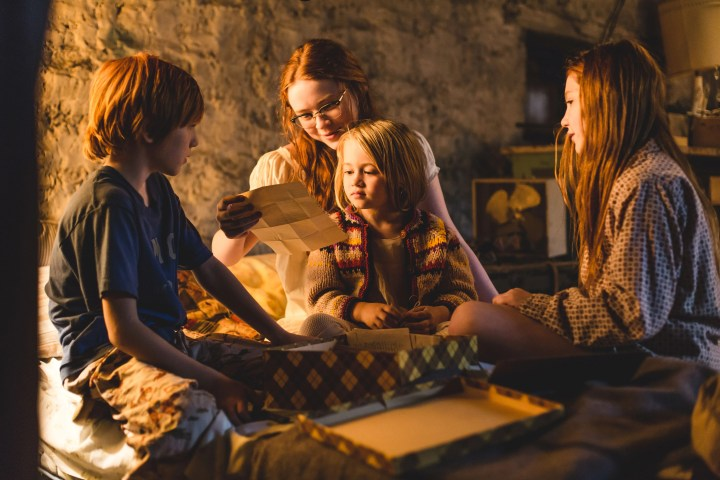 """From L to R: Charlie Shotwell as """"Young Brian,"""" Sadie Sink as """"Young Lori,"""" Eden Grace Redfield as """"Youngest Maureen"""" and Ella Anderson as """"Young Jeannette"""". Photo by Jake Giles Netter."""