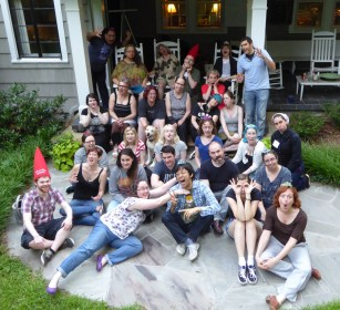 WtO Retreat: Group Shot on the porch of the retreat house. Everyone was commanded to do something silly