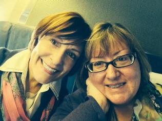 Debby (L) and Me (R) heading home on the airplane