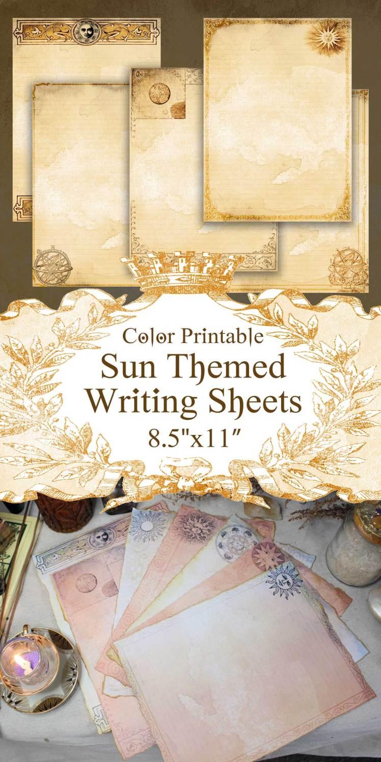 printable celestial sun junk journal page sheets tan parchment