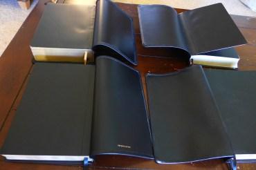 Clockwise starting top left: HCSB Study Bible, HCSB Minister's, NASB SCR, ESV VBV