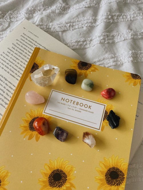 Notebook with crystals