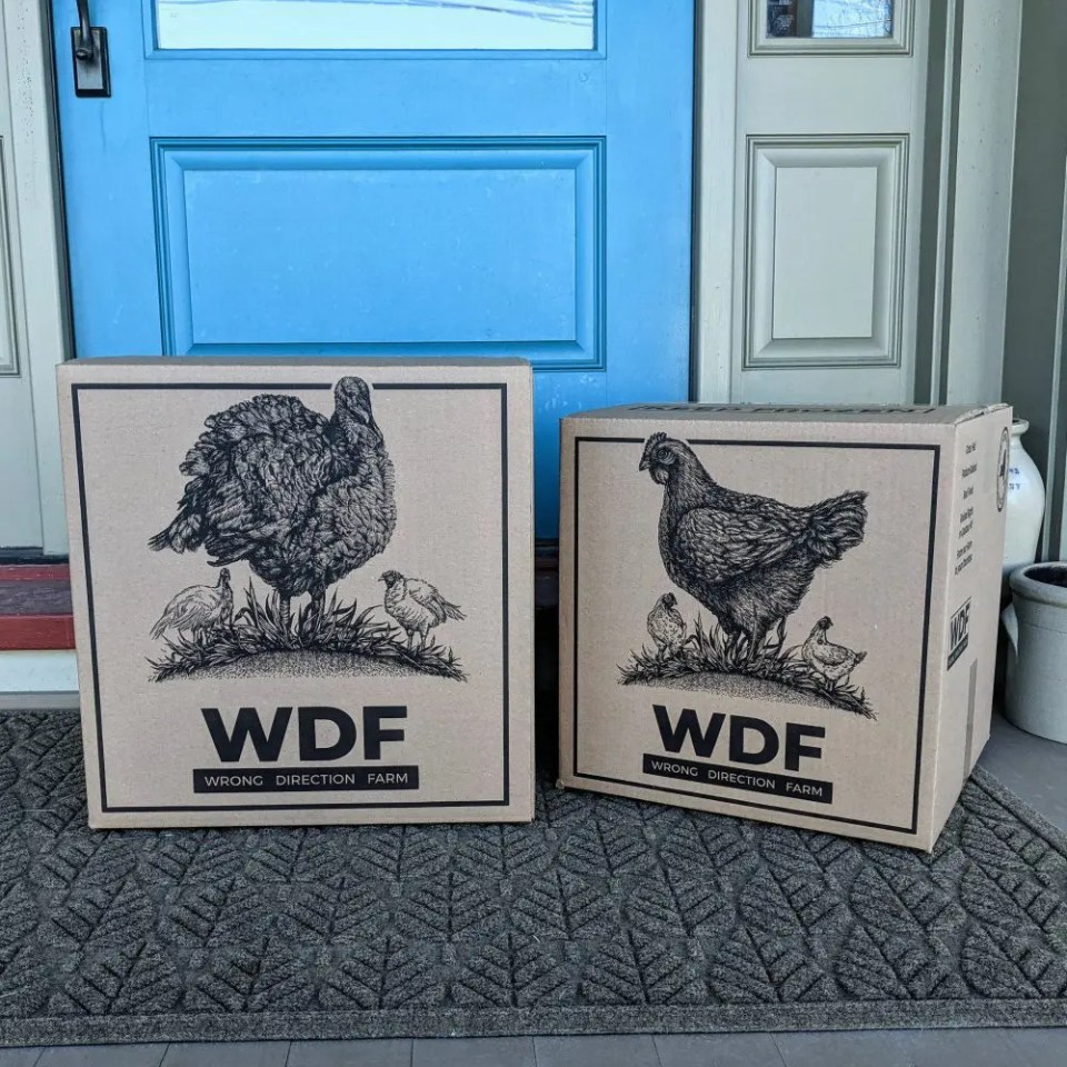 Wrong Direction Farm delivers these boxes of pasture raised chicken and turkey and grass fed beef to customers in the Northeast, including New York, New Jersey, Connecticut, Rhode Island, Vermont, Massachusetts, New Hampshire, Maine, Delaware, and Pennsylvania.