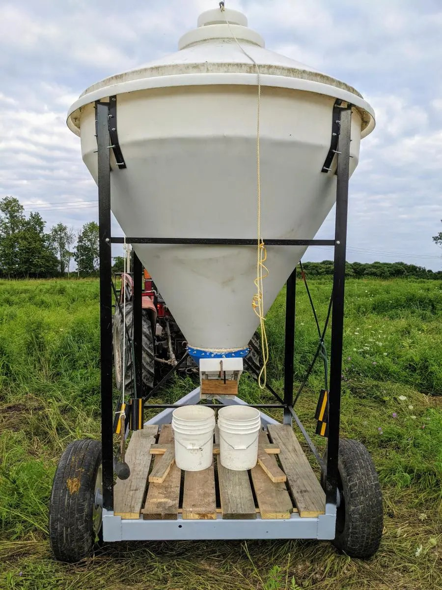 Completed transport trailer for delivering feed to pasture raised chickens.