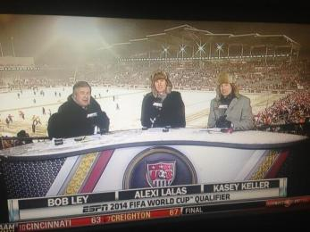 Not even ESPN's commentating team was safe from the elements.