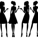 Black and white silhouette of 4 women with drinks in hands talking to one another.