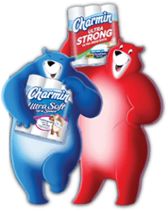 Image of the blue and red bears from Charmin advertisements.