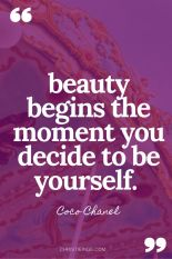 "Image of the quote ""Beauty begins the moment you decide to be yourself,"" by Coco Chanel."