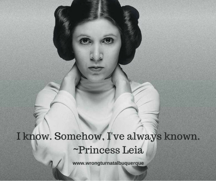 """Image of Princess Leia with the quote, """"I know. Somehow, I've always known."""""""
