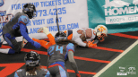 Shock WR Rashaad Carter ends up trapping the ball in the end zone - the play was initially ruled a touchdown before review overturned the play and gave the Thunder the ball on downs.