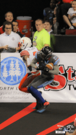 Thunder DB Allen Chapman fights for an interception to end the first half and avoid a 16-point halftime deficit.
