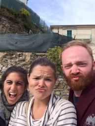 Funny faces with Chris and Laura, Adventurers from America, Riomaggiore, Cinque Terre.