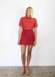 Red linen wrap skirt