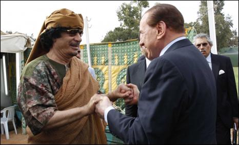 القذافي وبيرلسكوني