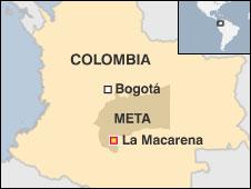 Mapa que indica la ubicación de los combates