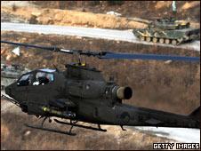 Trực thăng và xe tăng Nam Hàn tập trận