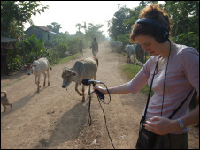 Producer Jo Mathys recording street sounds for the documentary