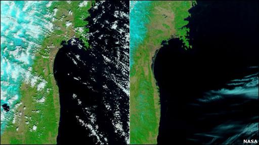 Mapa satelital de Japón antes y después del terremoto
