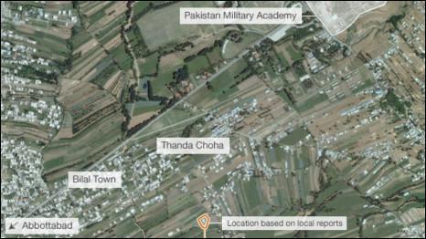 Bản đồ cho thấy nơi Osama Bin Laden bị giết