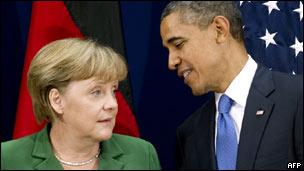Merkel e Obama em foto de arquivo
