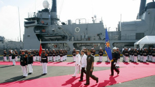 Tổng thống Philippines trong buổi lễ ra mắt tàu Gregorio del Pilar