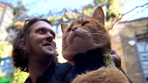James Bowen e o gato Bob fazem sucesso com vídeos no YouTube (BBC)