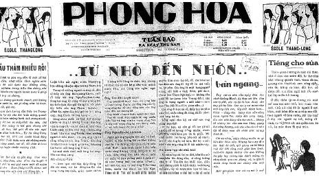 Một trong những số báo Phong Hóa đầu tiên do Nhất Linh chủ biên