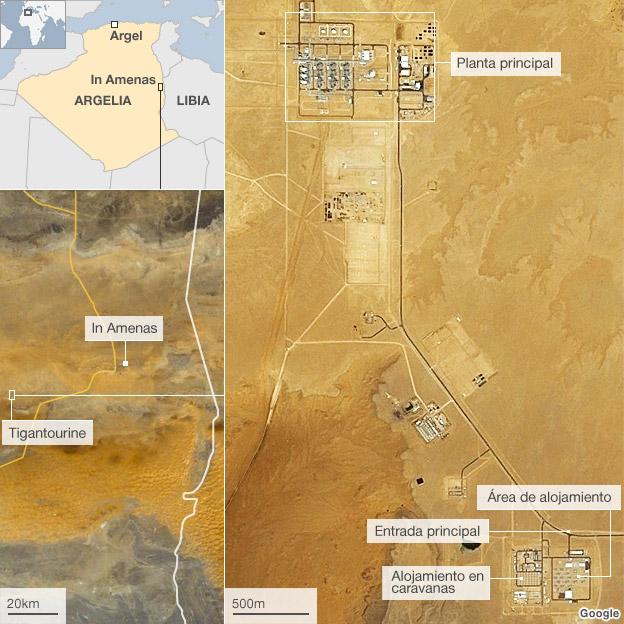 Mapa de las instalaciones petroleras en In Amenas