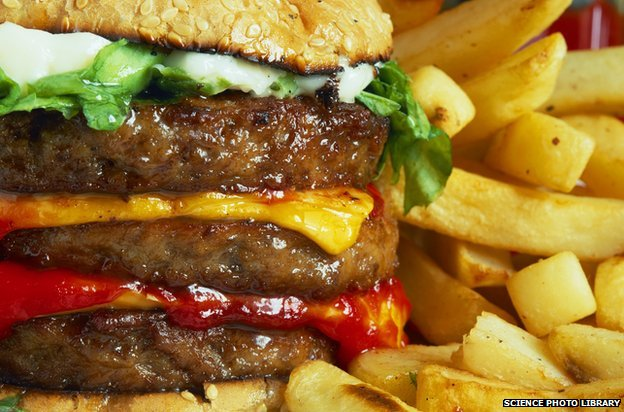 Hamburguesa y papas fritas