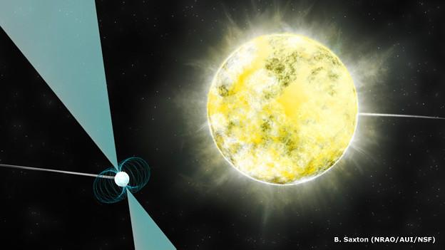 Interpretación artística de la enana blanca orbitando el pulsar PSR J2222-0137