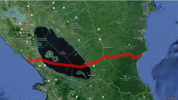 Ruta aproximada del Gran Canal de Nicaragua