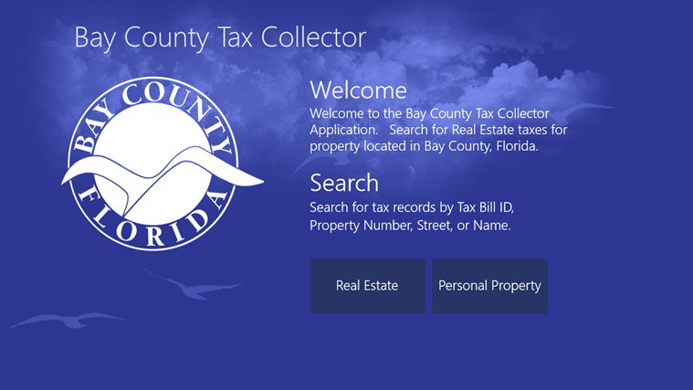 The welcome page lets the user select  whether to show Real Estate or Personal Property records.