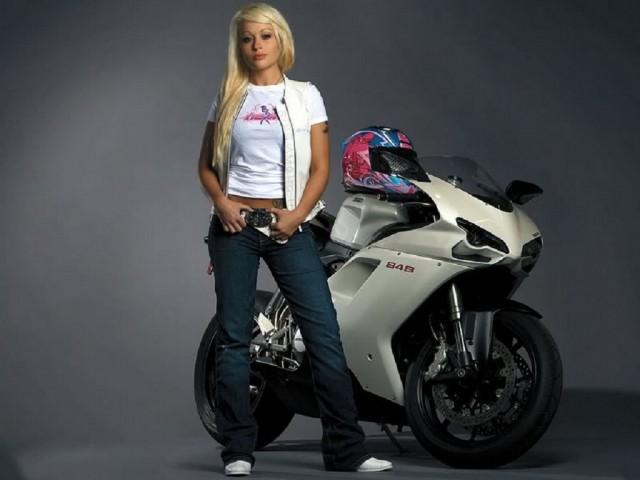 Ducati 848 Bike Girl HD Wallpaper Wide Screen Wallpaper