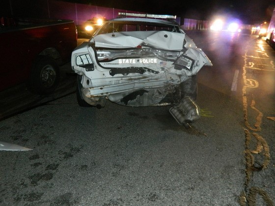 Trooper Escapes Serious Injuries After His Car was Struck