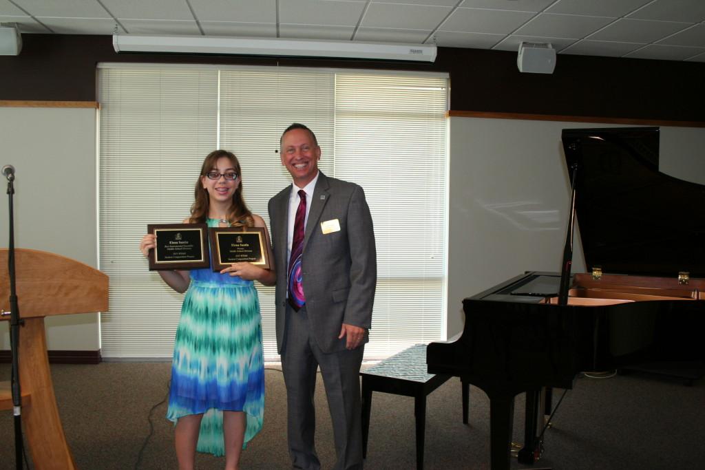 Elena Santin, 2015 Middle School Division Winner, attends Jefferson Midle School in Madison along Tim Schaid. Andrew Johnosn is Elena's music teacher.