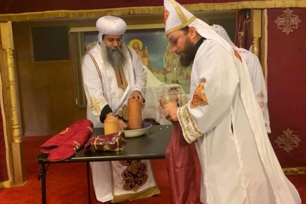 Bishop Peter perfumed the relics of St.Philopateer