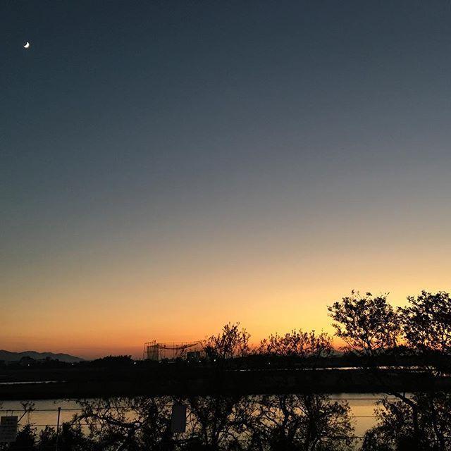 今日は大好きな川で。今日もいい天気。しっとりお疲れ様でした。#イマソラ #mysky #sky #river #sunset #tree #shadow #好きな場所