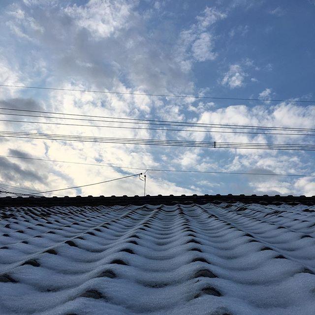 おはようございます。これから逆転、暖かくなるそうですが、信じられません。さて、雪も溶けたところで、はりきっていきましょ。#イマソラ #mysky #sky #fine #blue #clouds #roof #japanese #tiles #snow #line #morning
