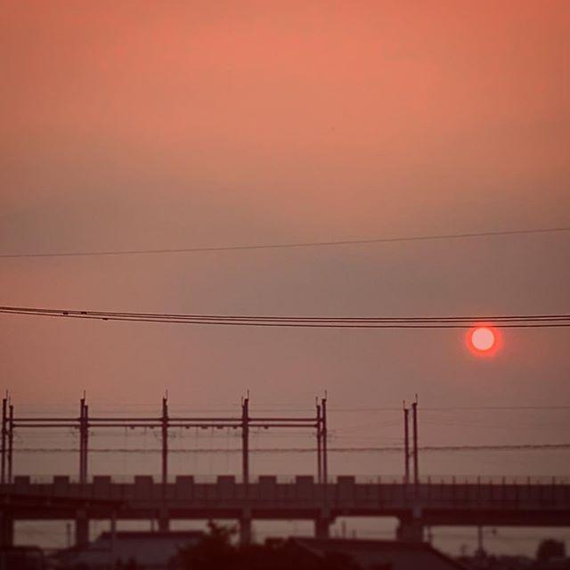 今日は私もおやすみして涼んできました。帰宅中に夕日をゲット。 タイミング難しい〜。 #イマソラ #mysky #sky #sunset #sun #lines #orange #shinkansen #railroad