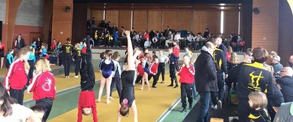 Гимнастки Элиза и Раяна Гамбулатовы на турнире в Эльзенборн