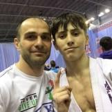 Магомед Мицаев со своим чемпионом Магомедом Баймурзаевым