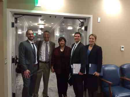 Residents Josh Rosenbaum, Shawn Call and Anika McGrath with Dr. Jeff Robinson and Dr. Gail Morgan