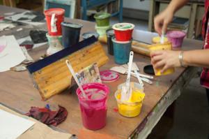 Cheryl Paswater mixing colors
