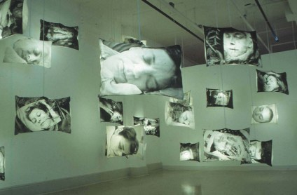 While You Were Sleeping, 2001. Liquid emulsion on fabric, light bulbs, motion sensor