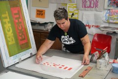 Visual Poetry workshop participant Jen Bracy printing