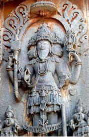 圖為梵天浮雕.印度哈勒比(halebid)神殿